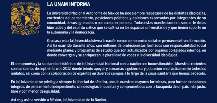Forma UNAM ciudadanos de pensamiento independiente y sin ideologías impuestas, responde institución a ataques de AMLO